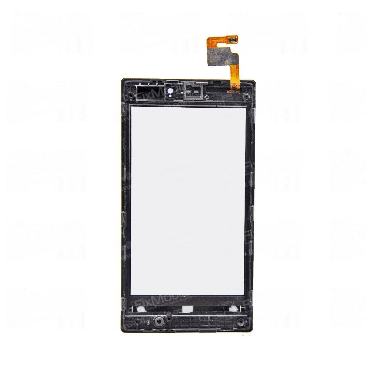 Тачскрин (сенсор) для Nokia Lumia 520 c рамкой (черный)