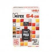 Карта памяти MicroSD 64GB Class 10 T-Flash Mirex+SD адаптер